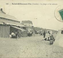 St-Gilles-sur-Vie, la plage et les cabines.