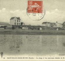 St-Gilles-Croix-de-Vie, la plage et les chalets.