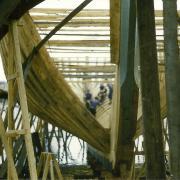 Croix-de-Vie, construction d'un bateau en bois.