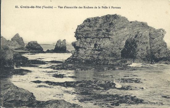 Croix-de-Vie, vue d'ensemble des rochers de la Pelle à Porteau.