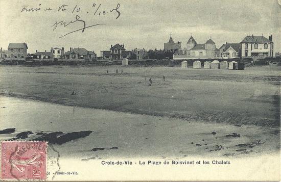 Croix-de-Vie, la plage de Boisvinet et les chalets.
