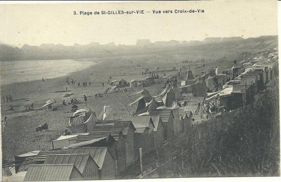Plage de St-Gilles-sur-Vie, vue vers Croix-de-Vie.