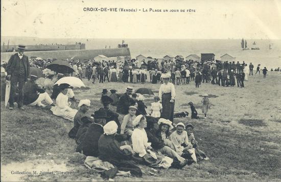 Croix-de-Vie, l'entrée du port et les chalets de la grande côte.