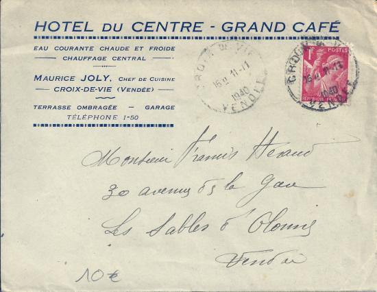 Enveloppe commerciale de l'hôtel du Centre.