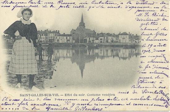 St-Gilles-sur-Vie, effet du soir, costume vendéen.