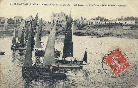 Croix-de-Vie, la petite côte et les chalets.