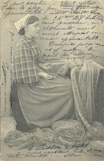 Croix-de-Vie, jeune fille faisant un filet.