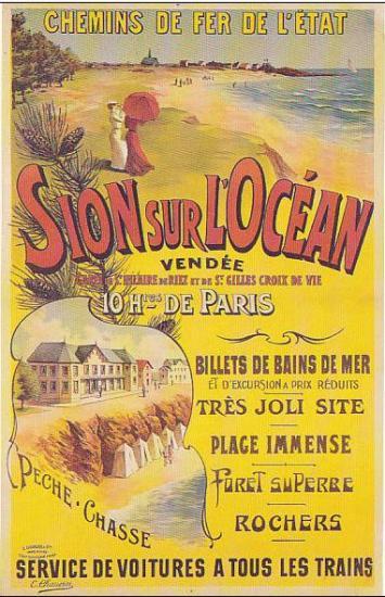 Sion-sur-l'Océan, carte publicitaire des chemins de fer Français.