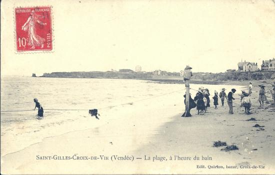 St-Gilles-Croix-de-Vie, la plage, à l'heure du bain.