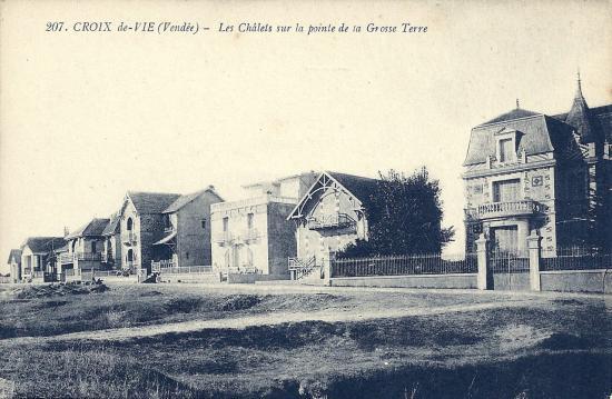 Croix-de-Vie, les chalets sur la pointe de la Grosse Terre.
