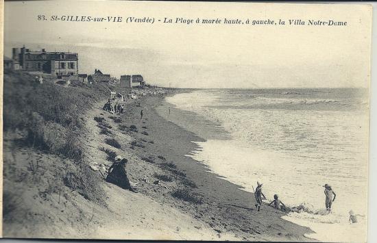 St-Gilles-sur-Vie, la plage à marée haute.