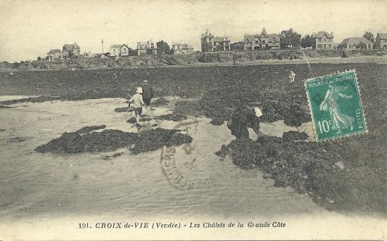 Croix-de-Vie, pêche dans les rochers et chalets.