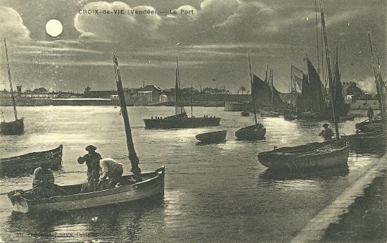 Croix-de-Vie, le port au clair de lune.