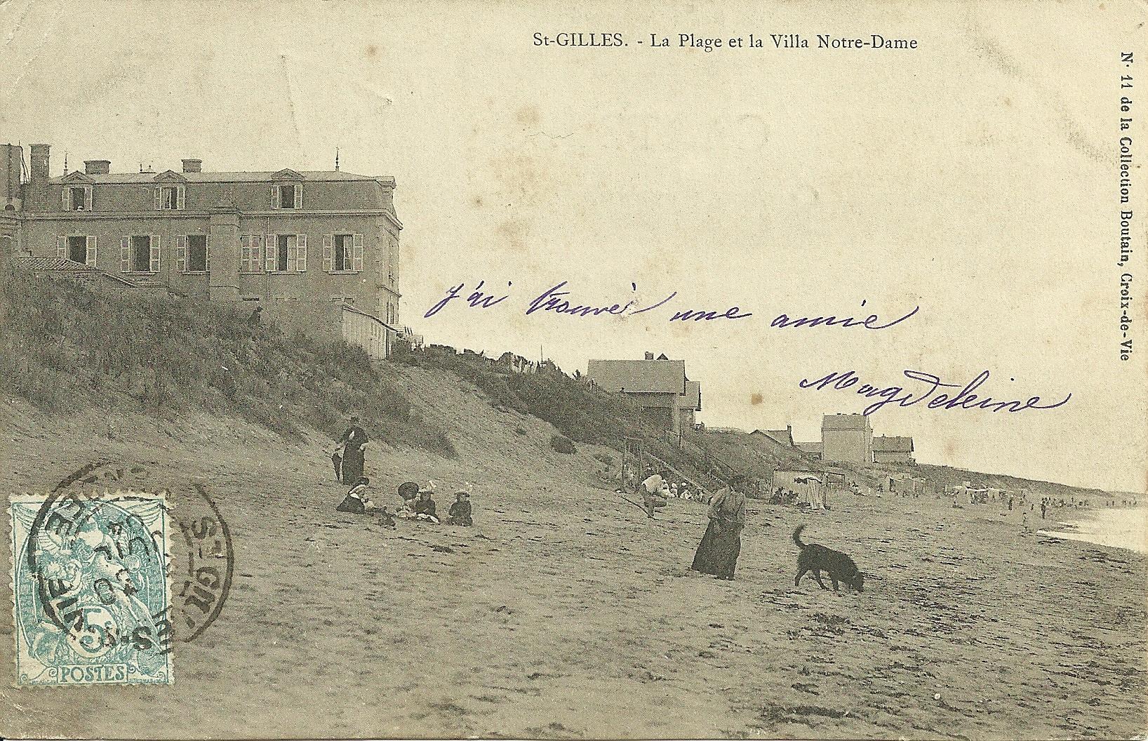 Saint-Gilles-sur-Vie, la plage et la villa Notre-Dame.